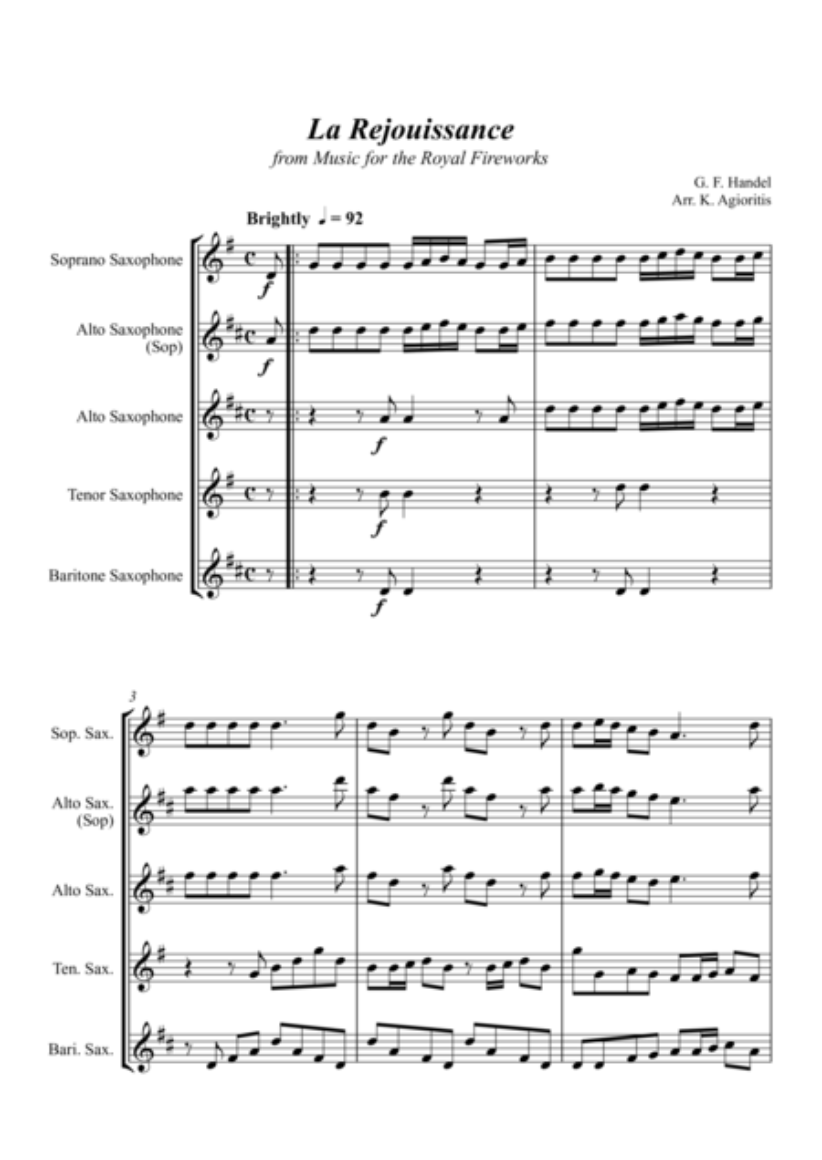 La Rejouissance (from Music for the Royal Fireworks) - Saxophone Quartet
