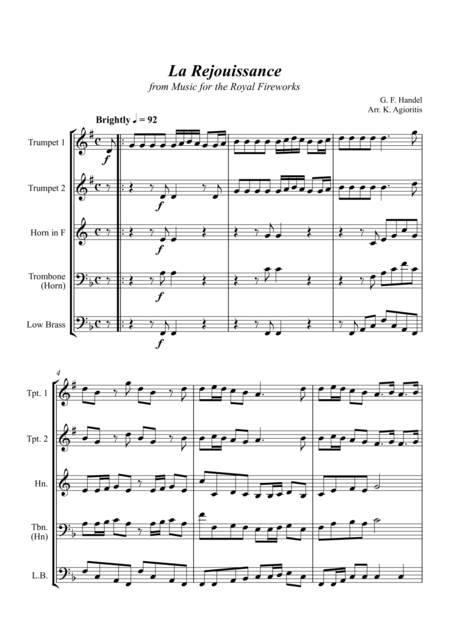 La Rejouissance (from Music for the Royal Fireworks) - Brass Quartet