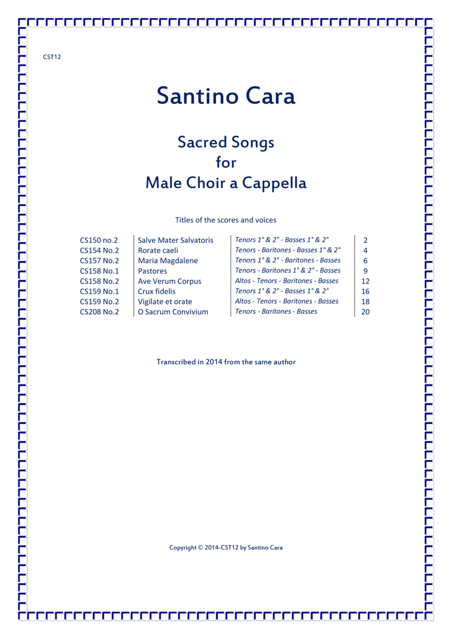 Eight Sacred Songs for Male choir a cappella