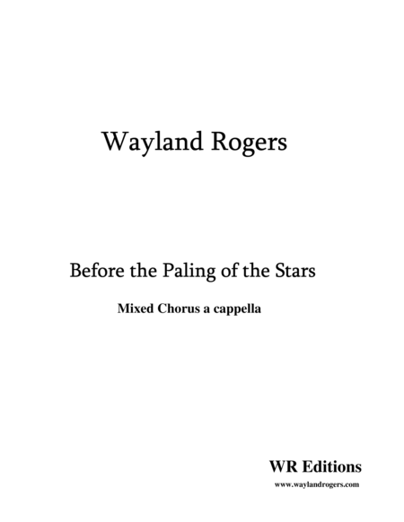 Before the Paling of the Stars