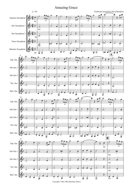 Amazing Grace for Saxophone Quintet