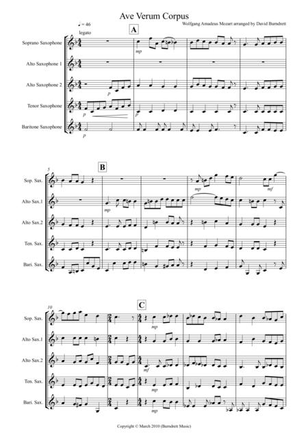 Ave Verum Corpus for Saxophone Quintet