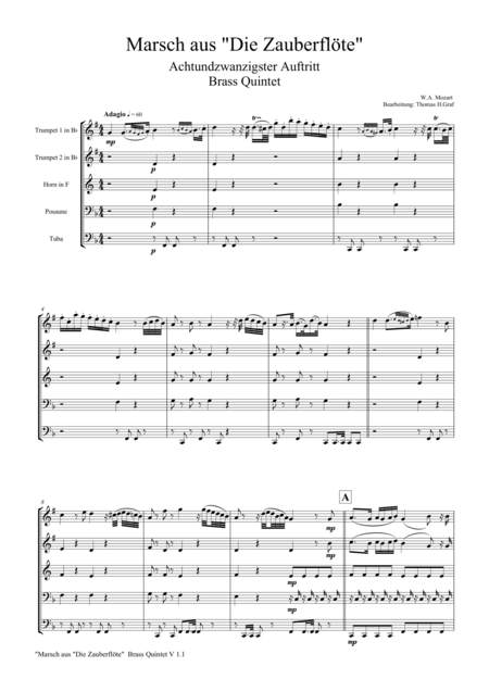 The Magic Flute, Mozart, March - Brass Quintet
