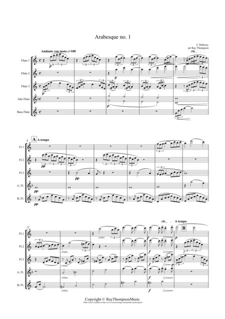 Debussy: Arabesque No.1 arranged flute quintet