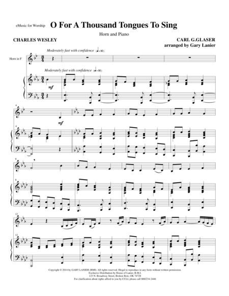 O FOR A THOUSAND TONGUES TO SING (Horn Piano and Horn Part)