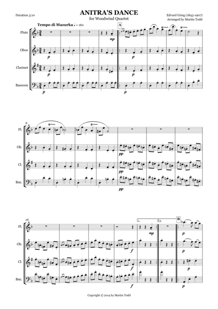 Anitra's Dance From Peer Gynt Suite No. 1 for Woodwind Quartet