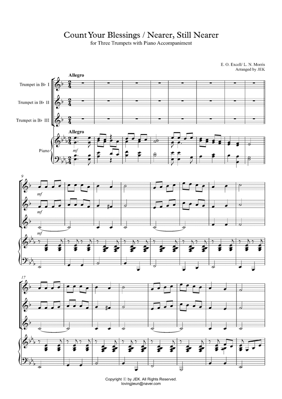 free christmas trumpet trio sheet music download hymn for trumpet trio count your blessings. Black Bedroom Furniture Sets. Home Design Ideas