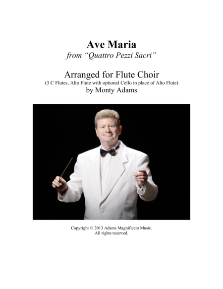 "Ave Maria from ""Quattro Pezzi Sacri"" for Flute Choir"