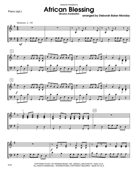 African Blessing (Bwana Awabariki) - Piano