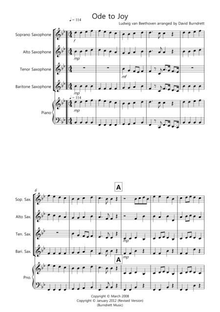 Ode to Joy for Saxophone Quartet