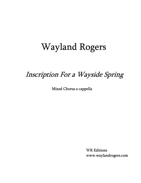 Inscription For a Wayside Spring