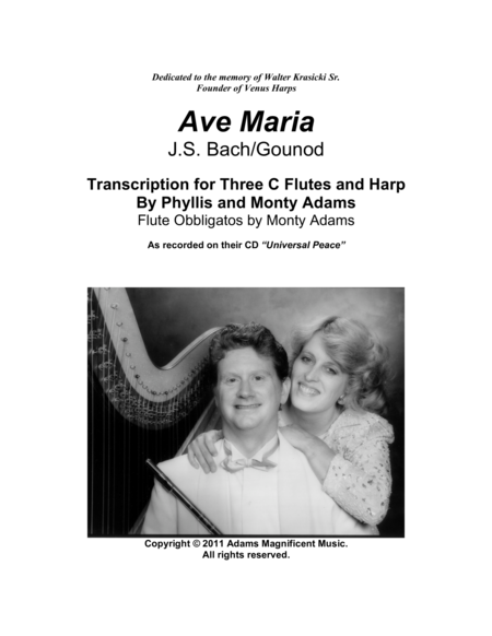 Ave Maria for 3 Flutes and Harp