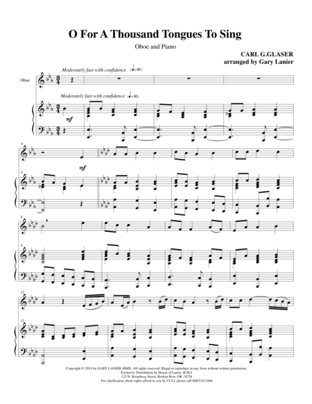 O FOR A THOUSAND TONGUES TO SING (Oboe Piano and Oboe Part)