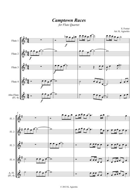 Camptown Races - for Flute Quartet