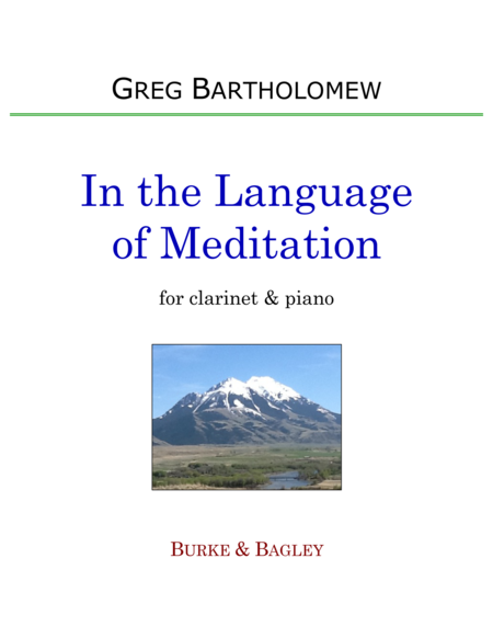 In the Language of Meditation for clarinet & piano