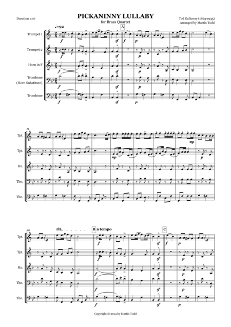 Pickaninny Lullaby for Brass Quartet
