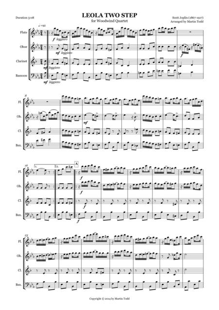 Leola Two Step for Woodwind Quartet
