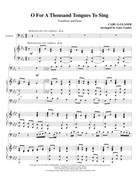 O FOR A THOUSAND TONGUES TO SING (Trombone Piano and Trb Part)