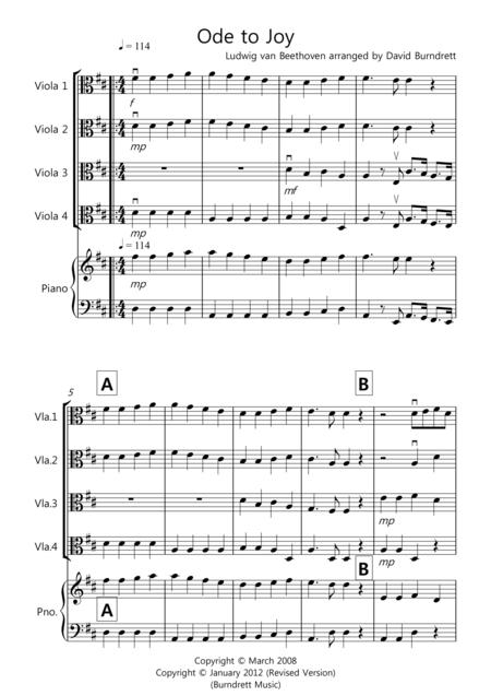 Ode to Joy for Viola Quartet