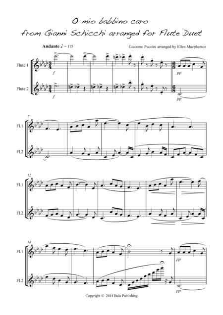 O mio babbino caro - for Flute duet