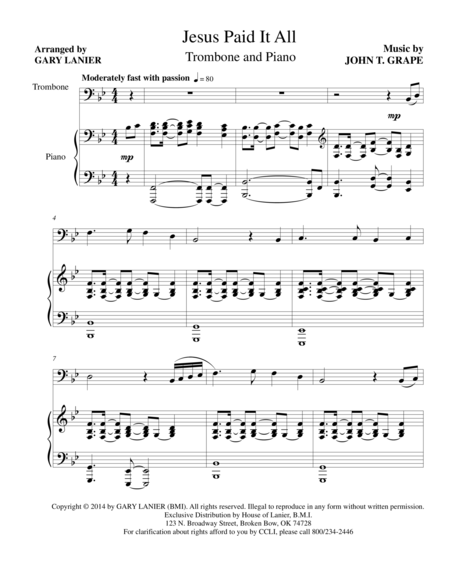 JESUS PAID IT ALL (Trombone and Piano with Trb Part)