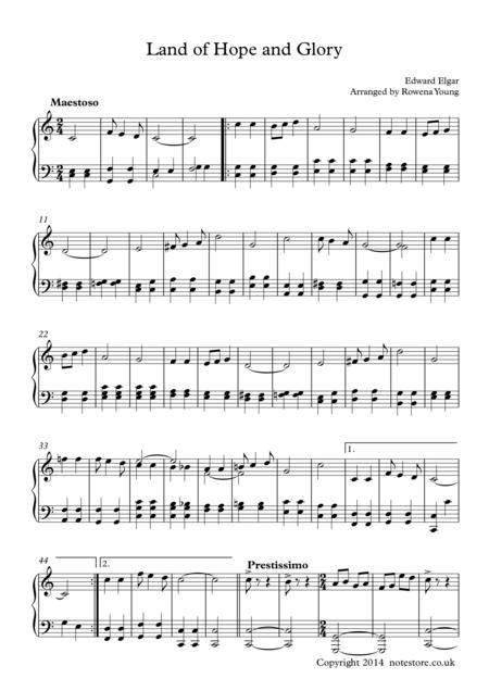 Land of Hope and Glory, Intermediate Piano Solo