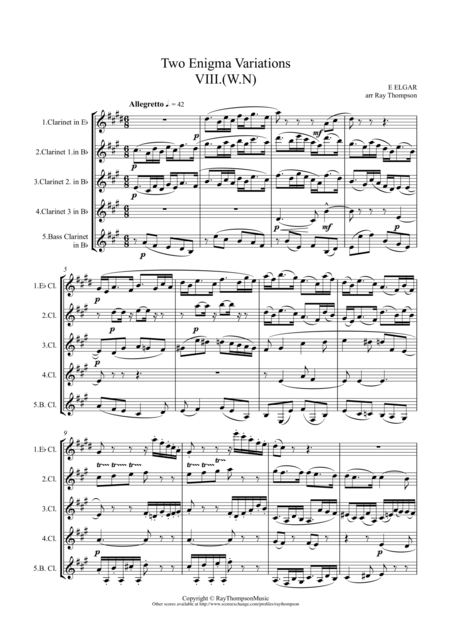 Enigma Variations Nos VIII (W.N.) and IX (Nimrod) for clarinet quintet