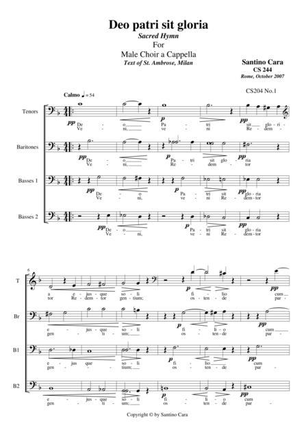 Deo Patri sit gloria (Sacred Hymn) for Male choir a cappella