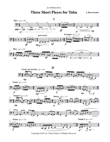 Three Short Pieces for Solo Tuba