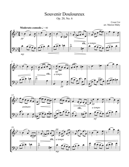 Souvenir Douloureux for violin & cello duet