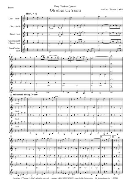 Oh when the saints - Easy Clarinet Quartet