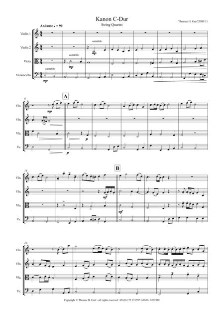 Canon C-Major, Kanon C-Dur, String Quartet