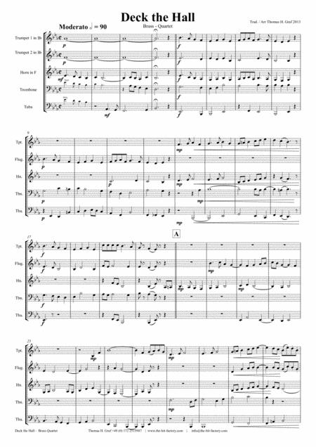 Deck the halls - Christmas Carol - Polyphonic - Brass Quintet