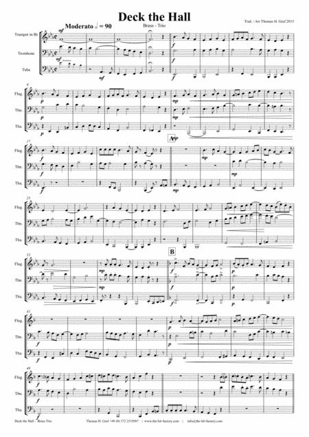 Deck the halls - Christmas Carol - Polyphonic - Brass Trio
