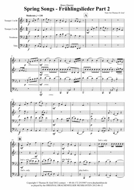 Spring Songs - Frühlingslieder - part 2 - Quartet