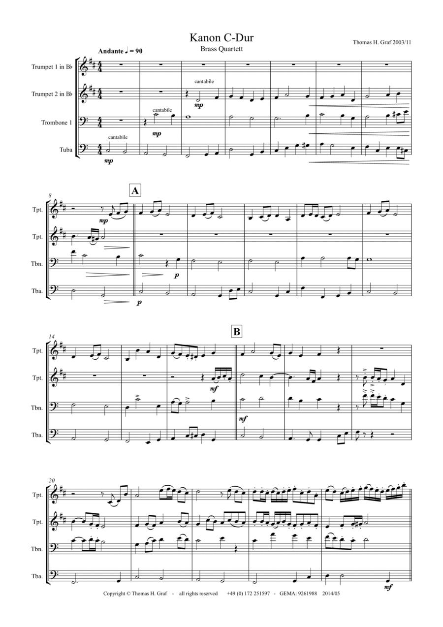 Canon C-Major, Kanon C-Dur, Brass Quartet