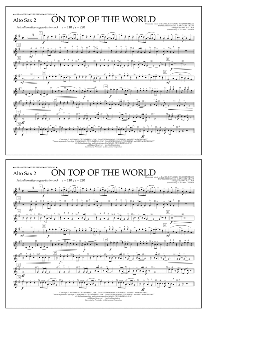 On Top of the World - Alto Sax 2