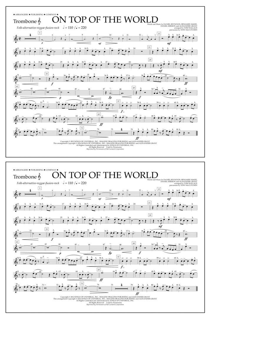 On Top of the World - Trombone T.C.