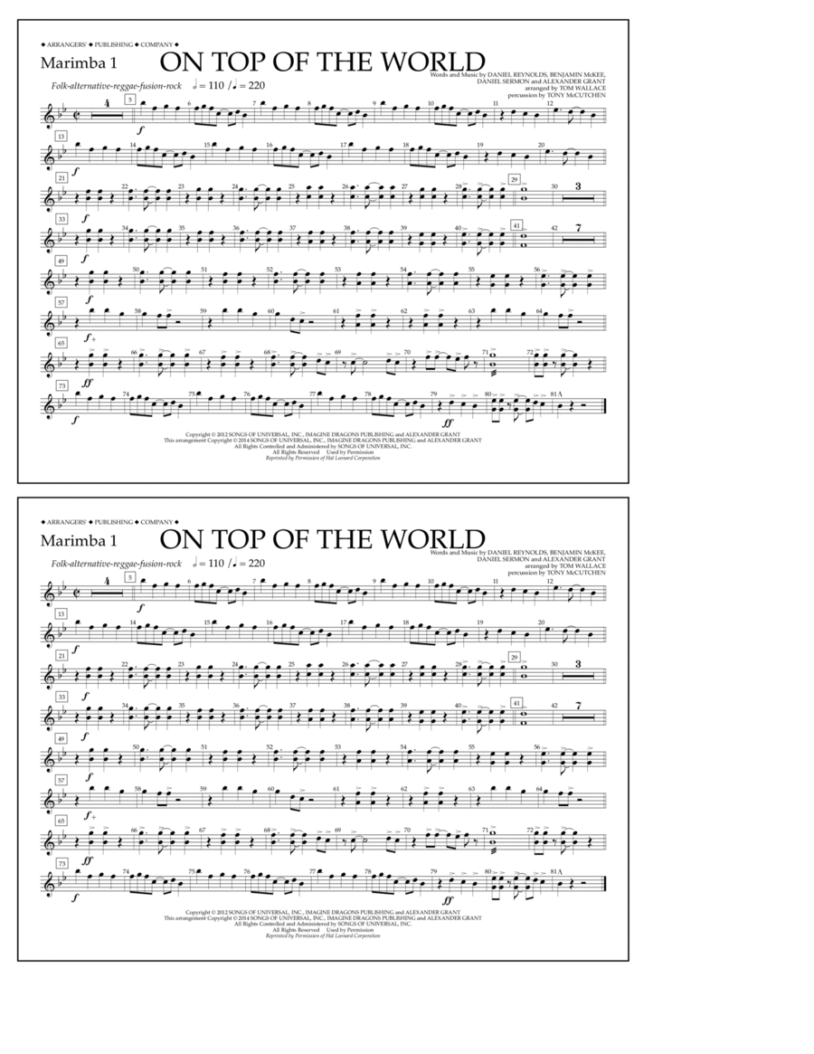 On Top of the World - Marimba 1