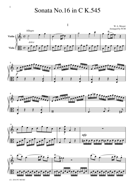 Mozart  Piano Sonata No.16 in C K.545 all mvts., for Violin & Viola, VN210