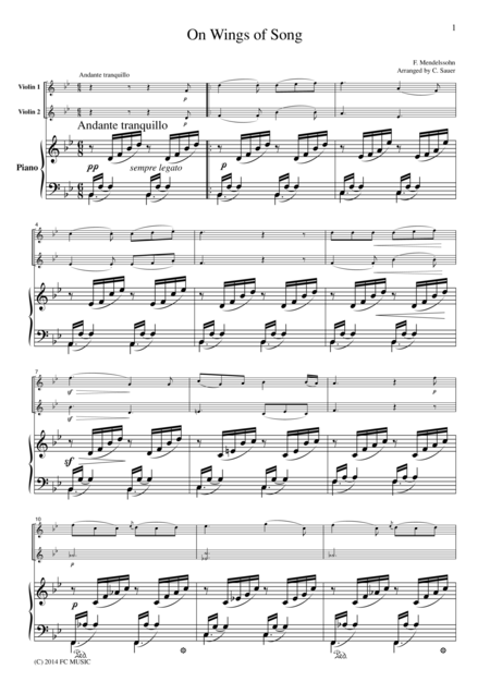 Mendelssohn On Wings of Song, for 2 Violins & Piano, VN212