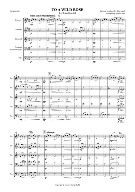 To A Wild Rose for Brass Quartet