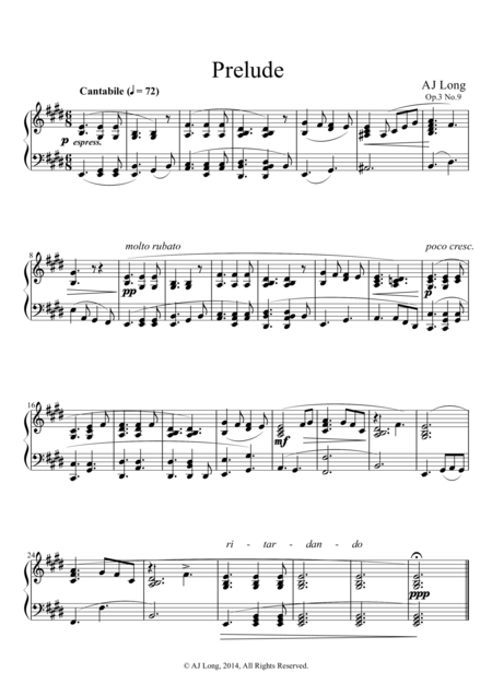 Prelude in E Major Op.3 No.9