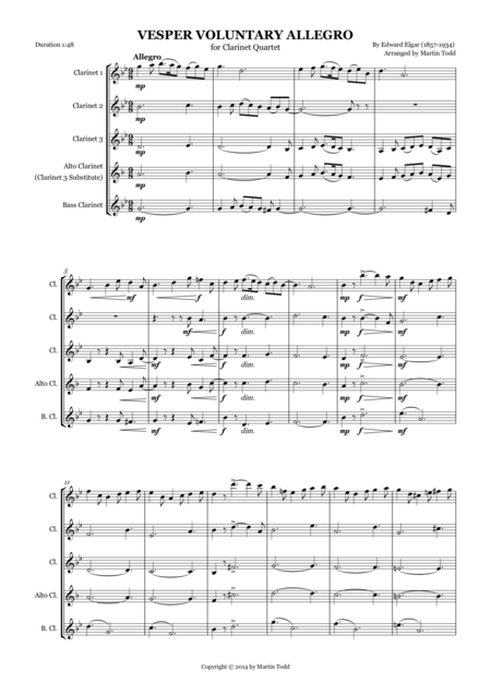 Allegro for Clarinet Quartet