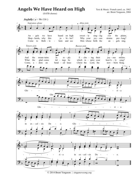 Angels We Have Heard on High (SATB)