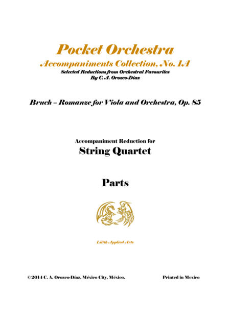 Bruch - Romanze for Viola and Orchestra, Op. 85 (Accompaniment Reduction for String Quartet, SCORE AND PARTS)