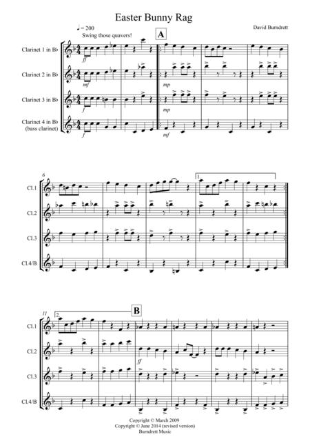 Easter Bunny Rag for Clarinet Quartet