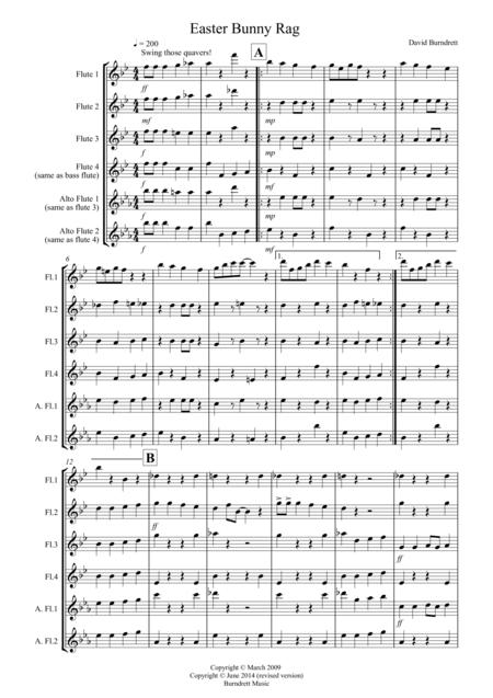 Easter Bunny Rag for Flute Quartet