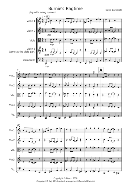 Burnie's Ragtime for String Quartet