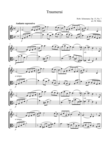 Traumerai, for violin & viola duet